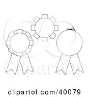 Clipart Illustration Of Three Blank Black And White Cut And Color Award Ribbons
