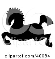 Clipart Illustration Of A Leaping Black Silhouetted Oriental Horse
