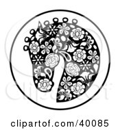 Clipart Illustration Of An Oriental Horse Head Profile In Floral Pattern by C Charley-Franzwa #COLLC40085-0078