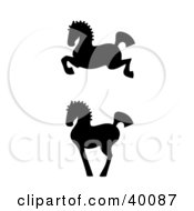 Clipart Illustration Of Leaping And Proud Black Silhouetted Oriental Horses In Profile