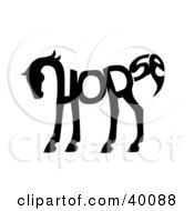 Clipart Illustration Of The Word Horse Spelled Out And Forming The Shape Of A Horses Body