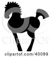 Clipart Illustration Of A Proud Black Silhouetted Oriental Horse In Profile