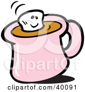 Clipart Illustration Of A Smiling Marshmallow Floating In Hot Chocolate