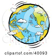 Clipart Illustration Of A Fish Leaping Out Of The Ocean Near A Boat On A Large Globe With Clouds And Colorful Dots