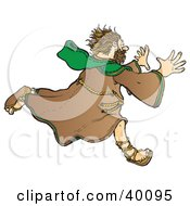 Clipart Illustration Of A Running Stressed Out Christian Monk In A Habit by Snowy