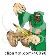 Clipart Illustration Of A Defensive Christian Monk In A Habit Fighting With A Dagger by Snowy