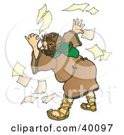 Clipart Illustration Of A Stressed Out And Unorganized Christian Monk In A Habit Searching Through Papers by Snowy