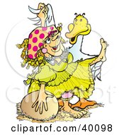 Clipart Illustration Of A Mother Goose Dame In A Yellow Dress Dancing With A Goose