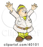 Clipart Illustration Of A Happy Male Explorer Holding Up His Arms While Coming Upon An Amazing Discovery by Snowy
