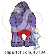 Clipart Illustration Of A Little Man Pointing Up At A Big Purple Troll by Snowy