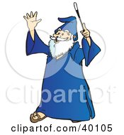Clipart Illustration Of A Smiling Old Wizard With White Facial Hair Holding Up His Wand