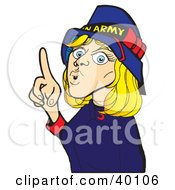 Stern Salvation Army Volunteer Worker Woman Holding Up A Finger