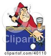 Male Billiards Player Aiming A Cue Stick On A Pool Table Smoking And Drinking