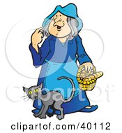 Clipart Illustration Of A Cat Rubbing Against A Friendly Graying Witch In Blue by Snowy