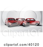Clipart Illustration Of Three Red Mini Cars by Frank Boston