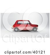 Clipart Illustration Of A Profile View Of A Red Mini Car by Frank Boston