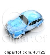 Clipart Illustration Of A Metallic Light Blue Slug Bug Car by Frank Boston