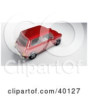 Clipart Illustration Of An Aerial View Of A Red Mini Car by Frank Boston