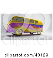 Yellow And Purple Hippy Van With Flower Designs