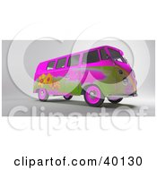 Pink And Green Hippy Van With Flower Designs