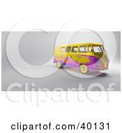 Clipart Illustration Of A Yellow And Purple Floral Hippy Van