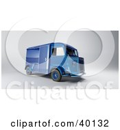 Clipart Illustration Of A Vintage Blue Delivery Van by Frank Boston