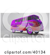 Clipart Illustration Of A Red And Purple Hippy Van With Flower Designs