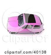 Clipart Illustration Of An Aerial View Of A Vintage Pink Compact Car by Frank Boston