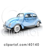 Clipart Illustration Of A Shiny Light Blue Metallic Slug Bug Car