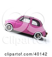 Clipart Illustration Of A Side View Of A Vintage Pink Compact Car