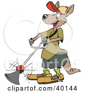 Clipart Illustration Of A Kangaroo Landscaper Operating A Weed Wacker
