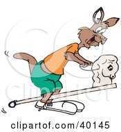 Clipart Illustration Of A Kangaroo Playing With A Stick Pony by Dennis Holmes Designs