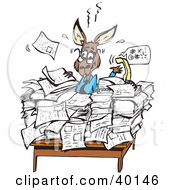 Clipart Illustration Of A Busy Kangaroo Office Worker Buried In Paperwork At His Desk