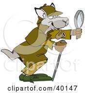 Clipart Illustration Of A Kangaroo Inspector Smoking A Pipe And Looking Through A Magnifying Glass