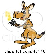 Clipart Illustration Of A Thoughtful Kangaroo Holding Yellow Flowers by Dennis Holmes Designs