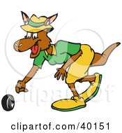 Clipart Illustration Of A Female Cricket Bowler Kangaroo Bowling A Ball by Dennis Holmes Designs