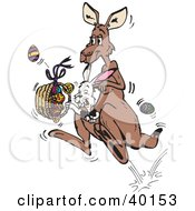 Bunny Rabbit Riding In A Kangaroos Pouch And Carrying Easter Eggs In A Basket
