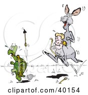Clipart Illustration Of Cupid Riding In A Kangaroo Pouch And Shooting Arrows At A Tortoise by Dennis Holmes Designs