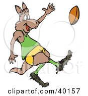 Clipart Illustration Of A Kangaroo Playing Rugby Football by Dennis Holmes Designs