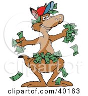 Clipart Illustration Of A Wealthy Kangaroo With Cash In His Hands And Pouch