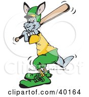 Clipart Illustration Of A Batting Kangaroo Cricketer by Dennis Holmes Designs