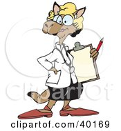 Clipart Illustration Of A Female Doctor Kangaroo by Dennis Holmes Designs