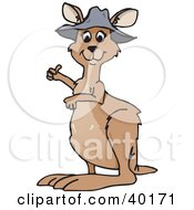Clipart Illustration Of A Cute Brown Kangaroo In A Hat Giving The Thumbs Up