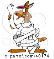 Clipart Illustration Of A Kangaroo Proof Reader Tangled And Wrapped In A Long Piece Of Paper List Or Office Memo