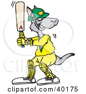 Clipart Illustration Of A Kangaroo Batting During A Game Of Cricket by Dennis Holmes Designs