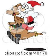 Clipart Illustration Of Santa Riding On A Kangaroo With Christmas Presents In The Pouch