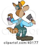 Clipart Illustration Of A Male Kangaroo Painter Holding A Brush And Bucket by Dennis Holmes Designs