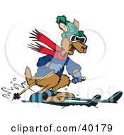 Clipart Illustration Of A Brown Kangaroo Skiing And Dressed In Winter Clothes