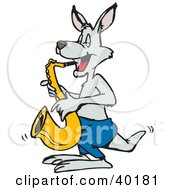 Clipart Illustration Of A Musical Gray Kangaroo Playing A Saxophone