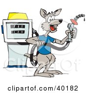 Clipart Illustration Of A Kangaroo Gas Attendant Holding A Nozzle